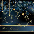 Merry Christmas  background gold and blue — Imagen vectorial