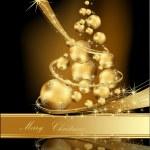 Gold Christmas tree made of balls — Stock Vector