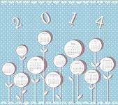 Calendrier pour l'année 2014 avec fleurs — Vecteur