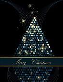 рождественская елка золото и синий — Cтоковый вектор
