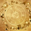 Gold Happy New Year  background  with clock — Grafika wektorowa