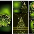 Merry Christmas background collections gold and green — Image vectorielle