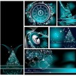 Merry Christmas backgrounds collection silver and blue — Stock Vector