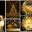 Stock Vector: Gold Merry Christmas background collections