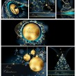 Merry Christmas background collections gold and blue — Stok Vektör