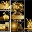 Gold Merry Christmas background collections  — Grafika wektorowa