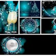 Merry Christmas background collections silver and blue — Stock Vector
