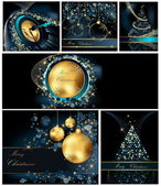Merry Christmas background collections gold and blue — Stock Vector