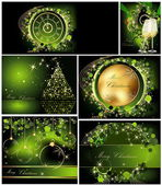 Merry Christmas background collections gold and green — Stock Vector