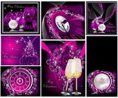 Merry Christmas background collections silver and violet — Stock Vector