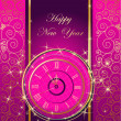 Stock Vector: Happy New Year background with clock