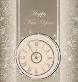 šťastný nový rok pozadí s hodinami — Stock vektor