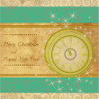 Happy New Year and Merry Christmas vintage background with clock — Stock vektor