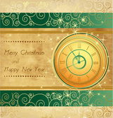 Happy New Year and Merry Christmas vintage background with clock — Stock Vector