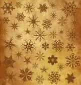 Fond vintage avec des flocons de neige — Vecteur