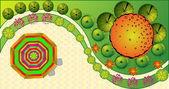 Vector Landscape Plan with treetop symbols — Stock Vector