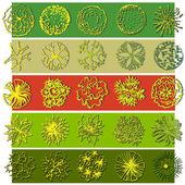 A set of treetop symbols, for architectural or landscape design — Stock Vector