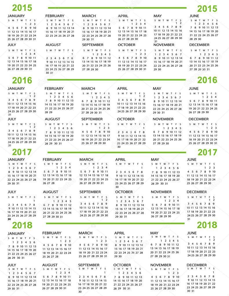 Calendrier, nouvelle année 2015, 2016, 2017, 2018 – Illustration