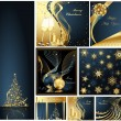 Merry Christmas and Happy New Year collection gold and blue — Stock Vector #7263382