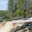 Fragment of the waterfall Аhvenkoski (Ruskeala waterfall). Karelia — Stock Photo