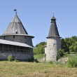 Stock Photo: Pskov Kremlin. The tower are Flat and High (Voskresensk)