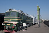 Starting railway module with the strategic rocket and locomotive DM-62 — Stock Photo