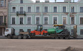 Trailer from road vehicles on a street of the city — Foto de Stock