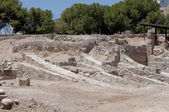 Remains the port constructions of the ancient Kition. The archaeological Museum of Larnaca — Stock Photo