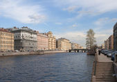 Río fontanka en la zona del puente de izmailovsky. san petersburgo — Foto de Stock