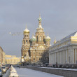 View of the Church of the Resurrection in a winter day. Saint-Petersburg - Stock Photo