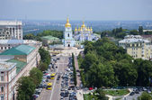 View on the St. Michael monastery is the bell tower of St. Sophia. Kiev — Stock Photo