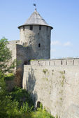 View at the Gate tower and the battle course. Ivangorod fortress — Stock Photo