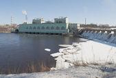 The Volkhovskaya hydroelectric power station. Volkhov — Stock Photo