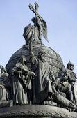 "Prince Vladimir Svyatoslavovich. Fragment of the monument ""Millennium of Russia"" in Veliky Novgorod — Stock Photo"