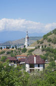 View of the temple-a beacon of St. Nicholas of Myra in Malorechenskoye. Crimea — Stockfoto
