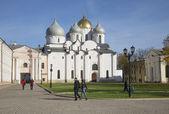Saint Sophia Cathedral in October. Veliky Novgorod — Stock Photo