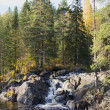 Waterfall Аhvenkoski autumn day. Karelia — Stock Photo