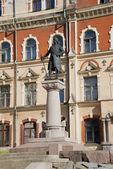 Pohled na památník Torgilse knutsson - zakladatelem hradu vyborg. Vyborg — Stock fotografie