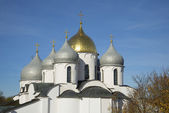 The dome of St. Sophia Cathedral autumn day. Veliky Novgorod — Stock Photo