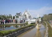 View of the White temple in the surroundings of Chiang Rai. Thailand — Stock Photo