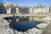 Quarry marble because of the abstinent (Italian quarry). Ruskeala, Karelia — Stock Photo