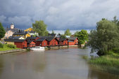 The river in Porvoo summer cloudy day. Finland — Stock Photo