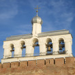 The belfry of St. Sophia on the background of blue sky. Great Novgorod — Stock Photo #50981917