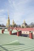 Primavera en los techos de la fortaleza pedro y pablo. san petersburgo — Foto de Stock