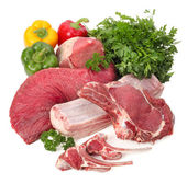 Assortment of raw meat with vegetables — Стоковое фото
