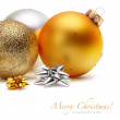 Gold and silver Christmas balls — Stock Photo
