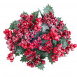 Stock Photo: Christmas wreath with berries isolated on white
