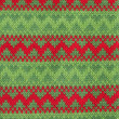 Christmas Knitted Pattern - Stock Photo