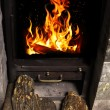 Stock Photo: Fire in hearth