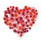 Curling papieru czerwone serce — Zdjęcie stockowe